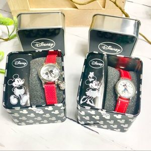 Disney Mickey & Minnie Watches with Red Bands